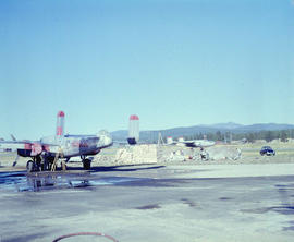 [Water bomber waiting to be filled at the Cranbrook Airport]