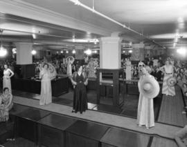 [A fashion show of ladies lounge wear at the Hudson's Bay Company]