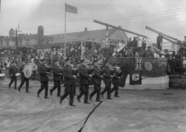 Military parade in front of Beatty St. Armories
