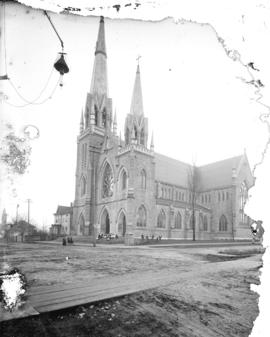 [Exterior of Holy Rosary Cathedral, seen from corner of Richards and Dunsmuir Streets]