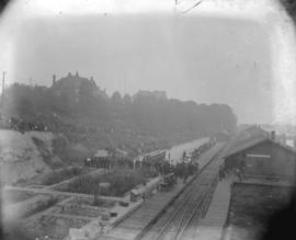 [Crowds gathered at C.P.R. station for arrival of Lord Aberdeen]