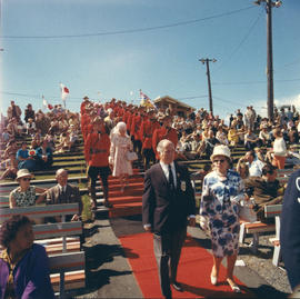 P.N.E. director approaches stage at 1969 P.N.E. Opening Ceremonies