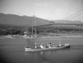 "S.S. ""Chumleigh"" under the Lions Gate Bridge"