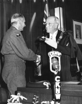 Field Marshal the Viscount Montgomery of Alamein, G.C.B. received the Key to Vancouver at the han...