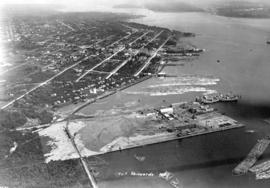 [Looking East along North Shore of Burrard Inlet showing] Lyall Shipyards
