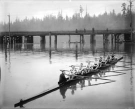 Vancouver Rowing Club [Coal Harbour, showing bridge to Stanley Park]