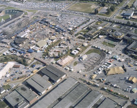 Aerial view of P.N.E. grounds looking southeast