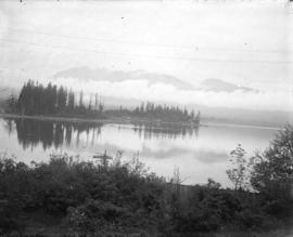 [View of Coal Harbour, Deadman's Island, part of Stanley Park, and the North Shore mountains, fro...
