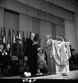 Lieutenant Governor G.R. Pearkes at 1967 P.N.E. opening ceremonies on Outdoor Theatre stage