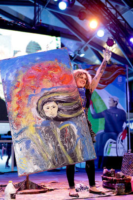 RBC artist Jessica with her final painting at the Paralympic 24 Hour Event in Vancouver, BC