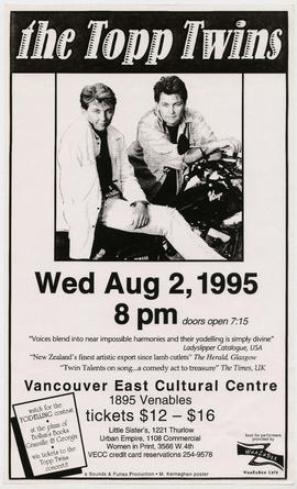 The Topp Twins : Wed., Aug. 2, 1995 : Vancouver East Cultural Centre