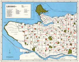 Map of City of Vancouver showing schools, parks, community centres, libraries, health units