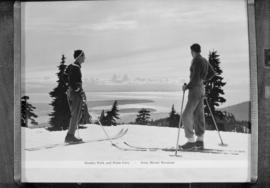 Stanley Park and Point Grey from Mount Seymour, skiers