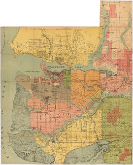Map of the Lower Mainland showing municipal boundaries and lot numbers