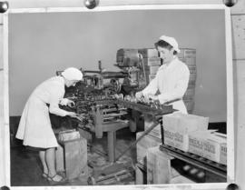 [Women labeling and boxing cans of Hedlund's sandwhich spread]