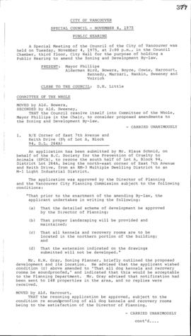 Special Council Meeting Minutes : Nov. 4, 1975