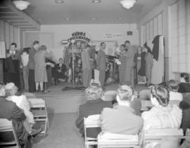 "[Musicians and entertainers on stage for the Burns' ""Chuckwagon"" show broadcast on..."