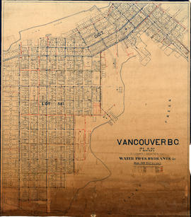 Vancouver, B.C. Plan showing location of water pipes, hydrants, etc. [Burrard Street to Gore Avenue]