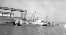 M.S Karl Grammerstorf [at dock, with lumber-filled barges alongside]