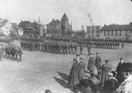 [Major General Steele inspecting the 29th Vancouver Battalion on the Cambie Street Grounds]