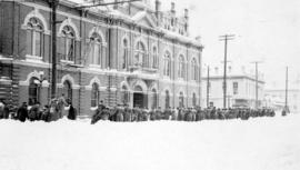 103rd Batalion C.E.F. pulling supplies on sled on Douglas Street, Victoria, B.C. to Drill Hall (C...