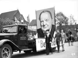 Poster of Winston Churchill on a truck, World War II parade on Burrard Street