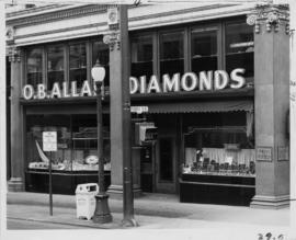 [Exterior of O.B. Allan store, Pender St. view]