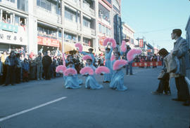 Dancers with fans in the Chinese New Year parade on Pender Street