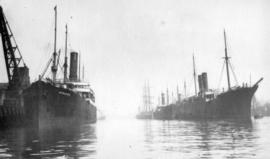 "[The ""Hydaspes"" and other ships at dock]"
