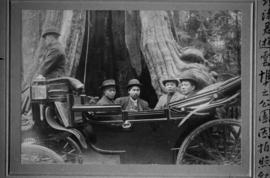 Chinese men in carriage at the Hollow Tree in Stanley Park
