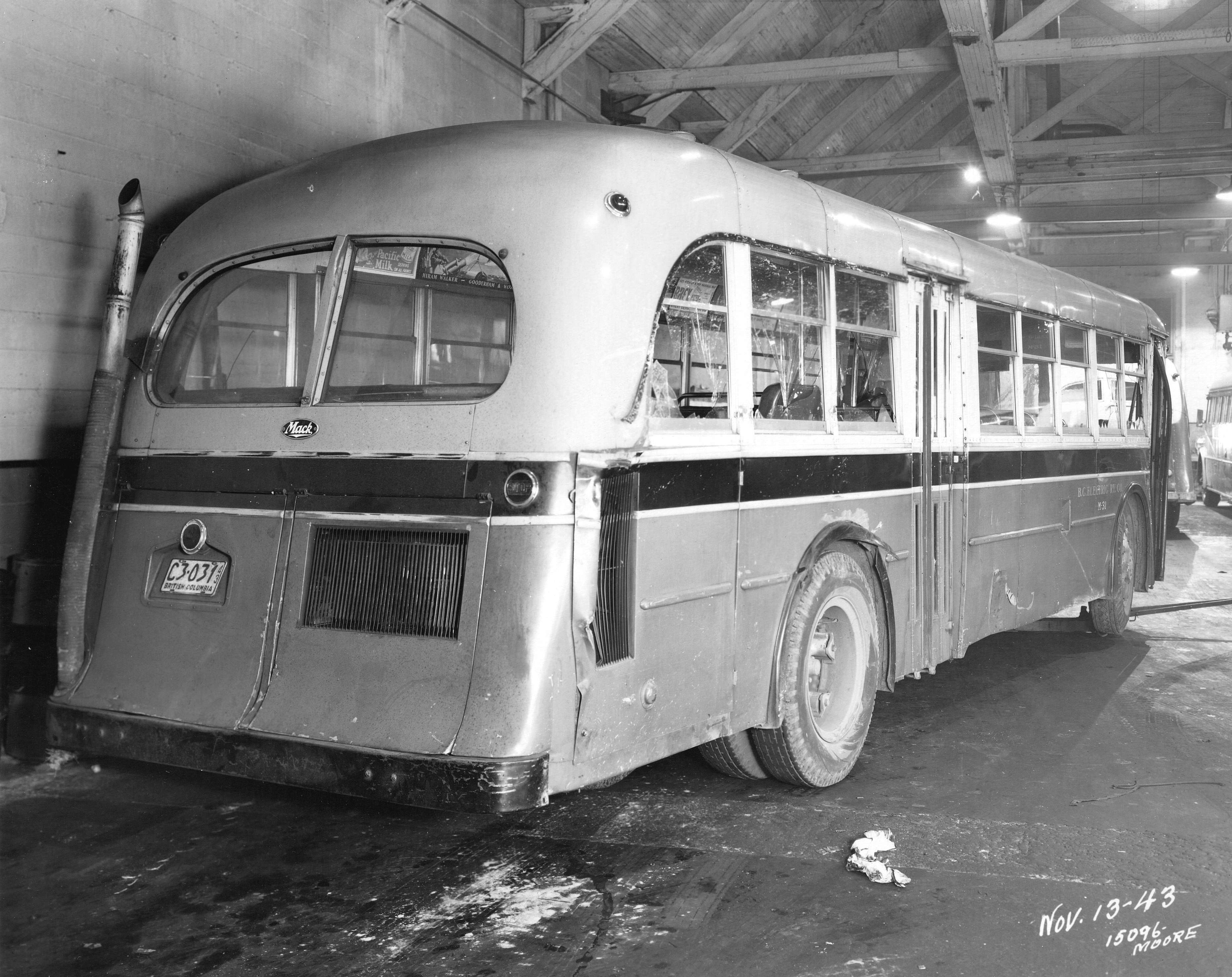 A B C  Electric Railway bus damaged in an accident] - City