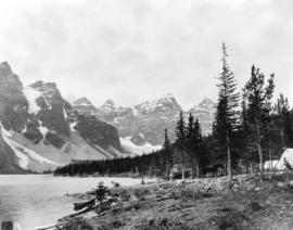 [A camp beside Lake Moraine in the Valley of the Ten Peaks]