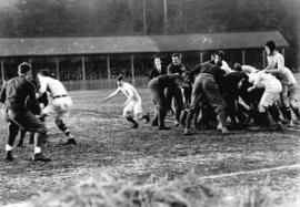 [A rugby match between Vancouver and University of California (Berkeley) at Brockton Oval]