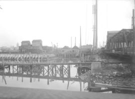 Wharf construction on the northwest side of the Westminster Avenue (Main Street) bascule bridge