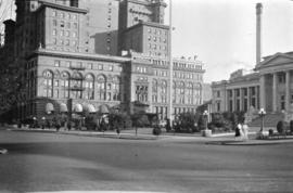 [View of the Hotel Vancouver and courthouse from Hornby Street]