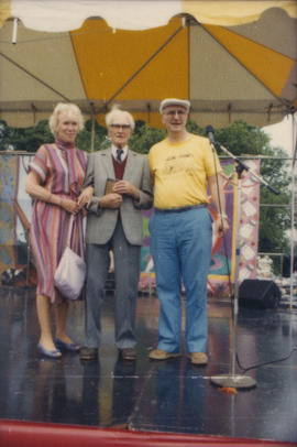 Unidentified woman with two men on Chevron Stage