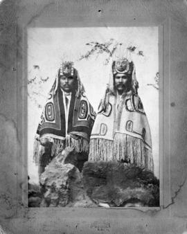 [Two male native Indians in ceremonial dress]