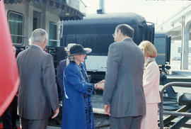 Mayor Harcourt and Becky Harcourt greeting Jeanne Sauvé and Maurice Sauvé at Canadian Pacific Sta...