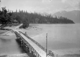 View of pier and buildings, possibly Bowen Island