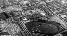 Aerial view of P.N.E. grounds looking south