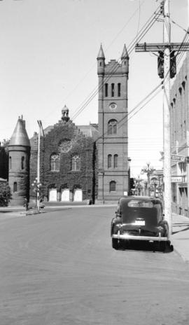 [Exterior view of St. Andrew's Church at the corner of Douglas and Broughton Streets in Vict...