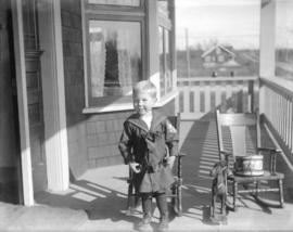 "[Jack Davidson on porch of ""Braeriach"" at 2119 West 42nd Avenue]"