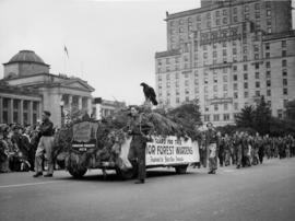 Canadian Forest Association Junior Forest Wardens float in 1948 P.N.E. Opening Day Parade