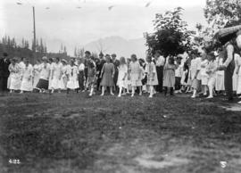 B.C.S.R. [B.C. Sugar Refinery group playing games at a picnic on Bowen Island]
