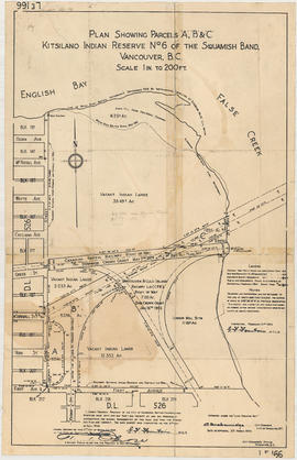 Plan showing parcels 'A', 'B' & 'C' : Kitsilano Indian Reserve, No. 6 of the Squamish band, V...