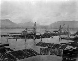 View of Burrard Inlet and Alberta Wheat Pool elevator under construction