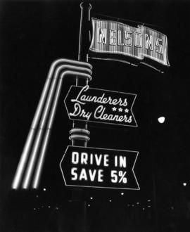 Nelson's Launderers & Dry Cleaners neon sign at 8th Avenue and Cambie Street