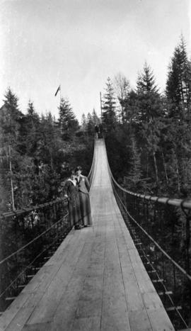Two women on Capilano suspension bridge
