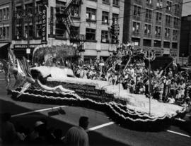Seattle Seafair float in 1957 P.N.E. Opening Day Parade