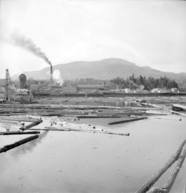 [View from the water of H.R. McMillan Co. logging operation and sawmill]